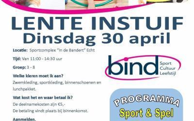 Dinsdag 30 april: LENTE INSTUIF groep 3 t/m groep 8!