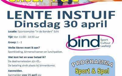 Dinsdag 30 april: LENTE INSTUIF groep 1 en 2!